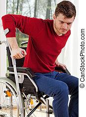 handicapé, béquilles, homme