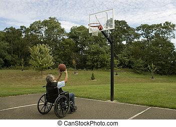 handicapé, basket-ball, coup