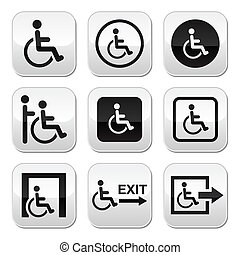 handicapé, boutons, homme, fauteuil roulant