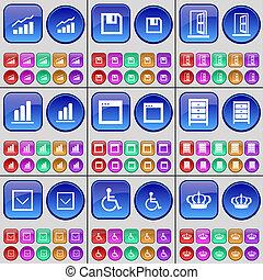 handicapé, buttons., disquette, archive, graphique, grand, ensemble, disque, bas, flèche, multi-coloré, personne, crown.
