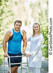 Handicapé, clinicien, homme