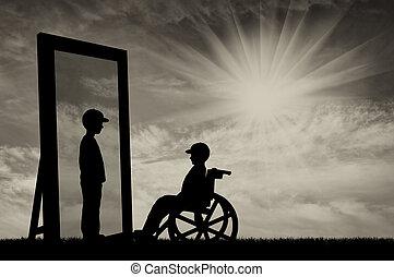 Handicapé,  concept, Rééducation, enfants