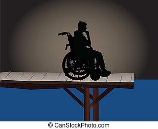 handicapé, conceptuel, -, illustration