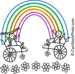 handicapé, couleur, gosses, me