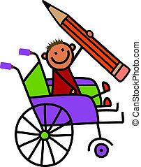 handicapé, crayon, garçon
