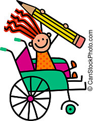 handicapé, crayon, girl