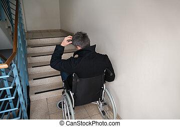 devant fauteuil roulant escalier homme gros plan photographie de stock rechercher des. Black Bedroom Furniture Sets. Home Design Ideas