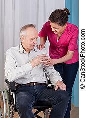 Handicapé, eau, infirmière, homme, donne