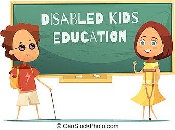 handicapé, education, illustration, gosses