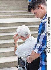 handicapé, escalier, homme