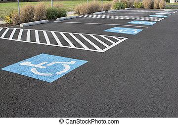 handicapé, espaces, stationnement