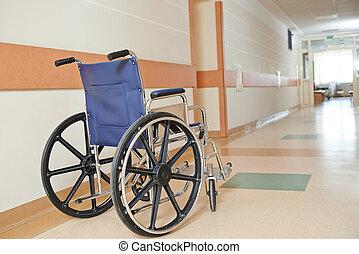 handicapé, fauteuil roulant, clinique, paients