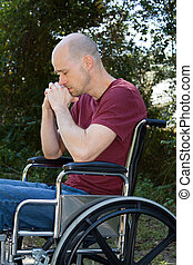 handicapé, fauteuil roulant, dépression