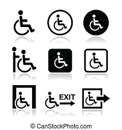 handicapé, fauteuil roulant, homme, icônes