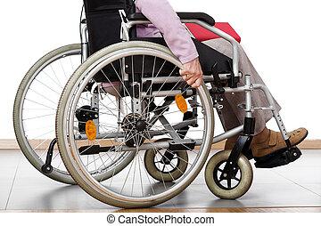 handicapé, fauteuil roulant
