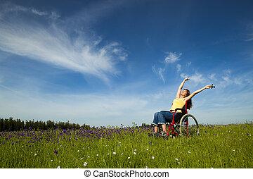 handicapé, femme, sur, fauteuil roulant
