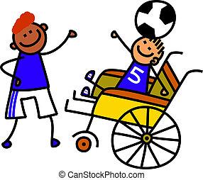 handicapé, garçon, football