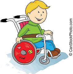 handicapé, garçon, peu