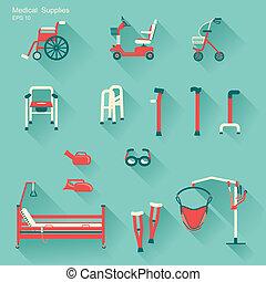 handicapé, gens., hôpital, vecteur, équipement, monde ...