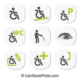 handicapé, gens, signes