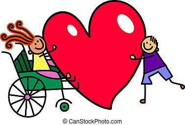 handicapé, girl, à, grand, coeur, amour