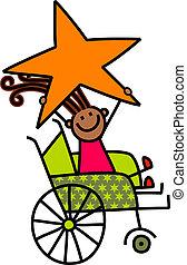handicapé, girl, étoile