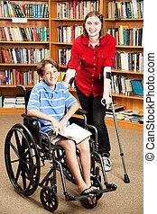 handicapé, gosses, à, école