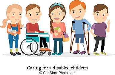 handicapé, handicapé, amis, enfants, ou
