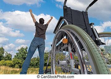 handicapé, happened., again., sain, h, miracle, handicapé, homme