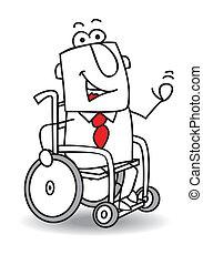 handicapé, homme affaires