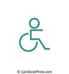 handicapé, icône, signe