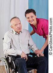 Handicapé, infirmière, homme