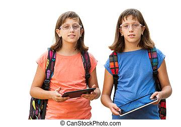 handicapé, jumeau, tablets., étudiants