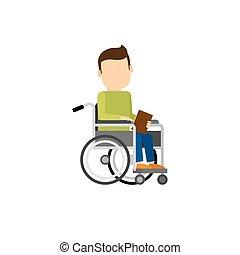 handicapé, livre, homme