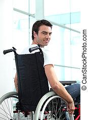 handicapé, mâle, ouvrier, bureau