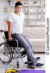 handicapé, maison, blessure, récupération, homme