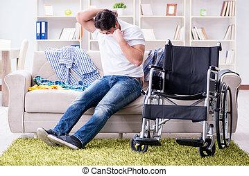 handicapé, maison, récupération, homme