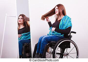 handicapé, miroir., regarder, girl