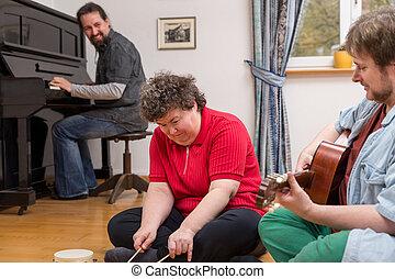 handicapé, musique, femme, thérapie, mentally
