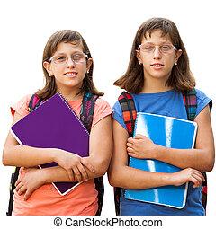 handicapé, notebooks., deux, étudiants