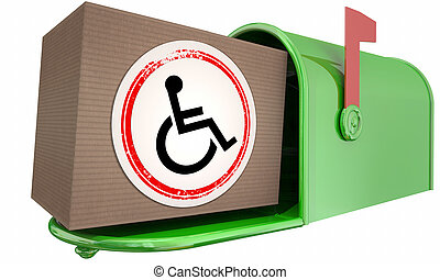 handicapé, paquet, fauteuil roulant, incapacité, illustration, personne livraison, courrier, symbole, 3d
