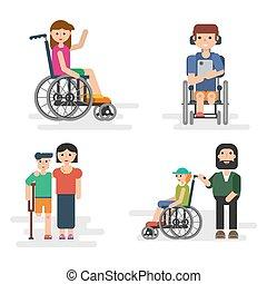 handicapé, parents, enfants