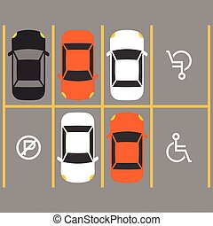 handicapé, parking, signe