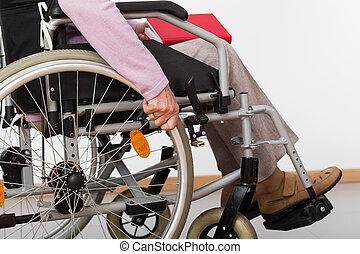 handicapé, personne, fauteuil roulant