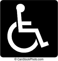 handicapé, personne handicapée, icône