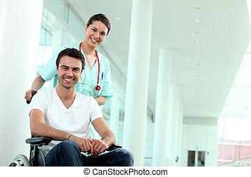 handicapé, personne, infirmière