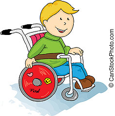 handicapé, petit garçon