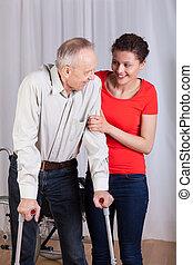 handicapé, portion, femme, promenade