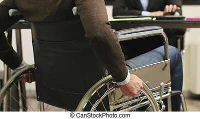 handicapé, portrait, o, homme affaires