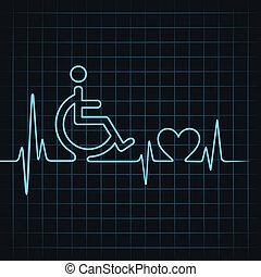 handicapé, pulsation, faire